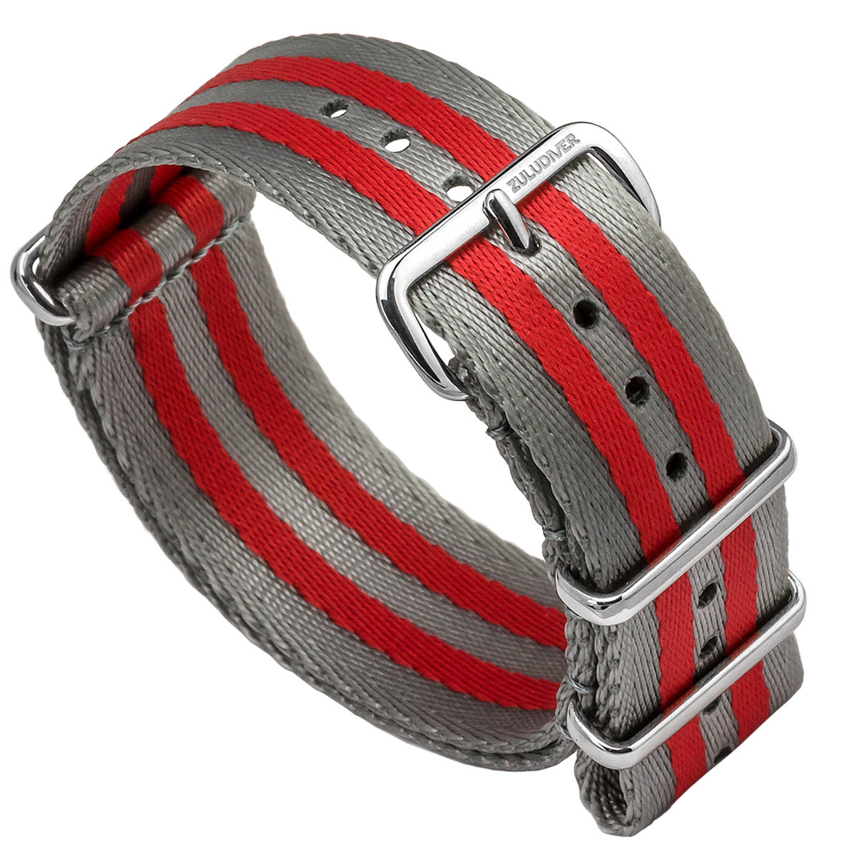 Professional ZULUDIVER Striped Herringbone NATO Watch Strap, Polished Hardware