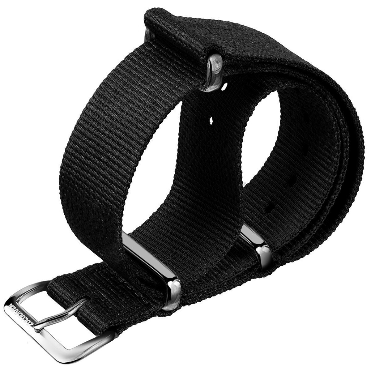 Classic ZULUDIVER Black Combat NATO Watch Strap, Polished Hardware