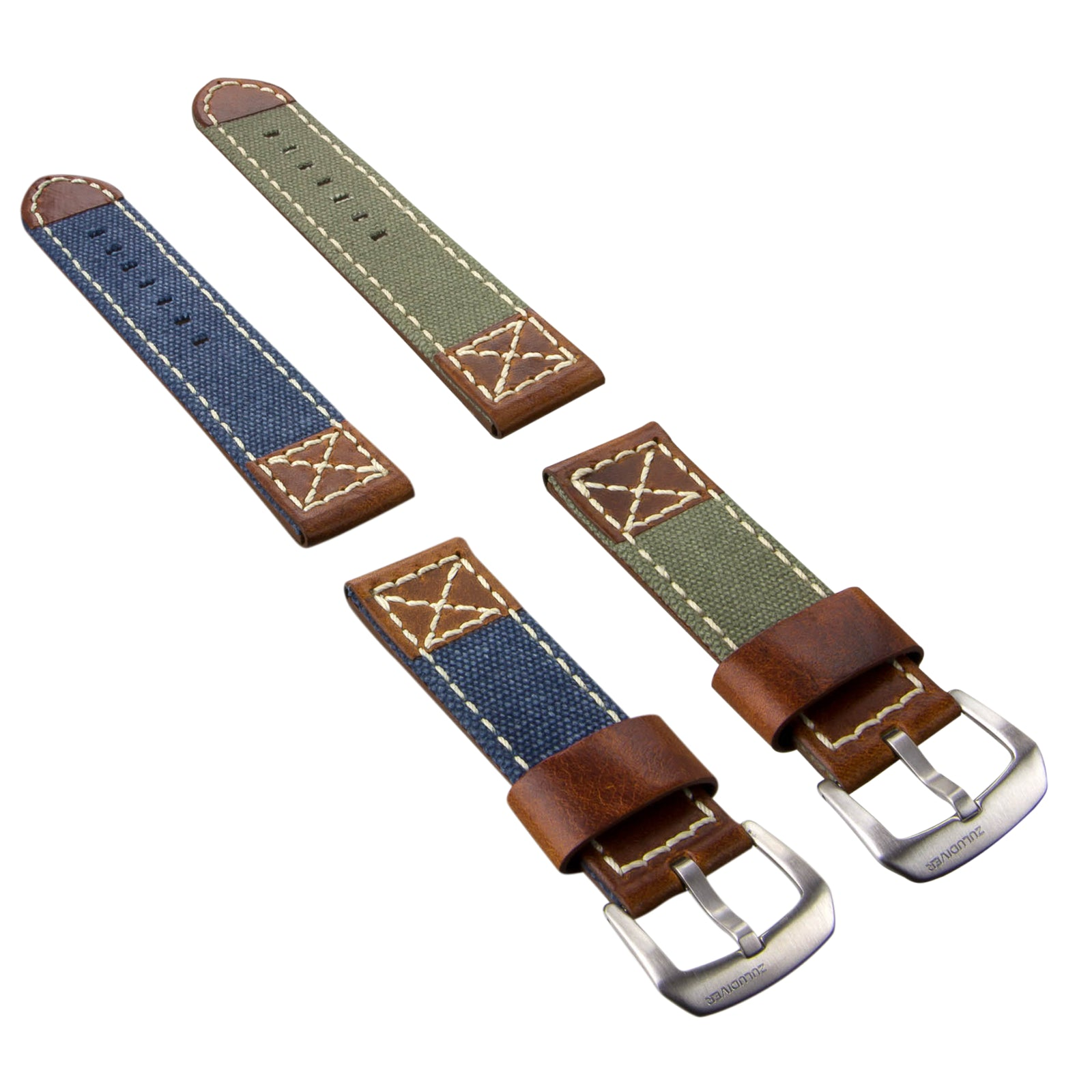 ZULUDIVER Canvas Denim Vintage Italian Leather Watch Strap