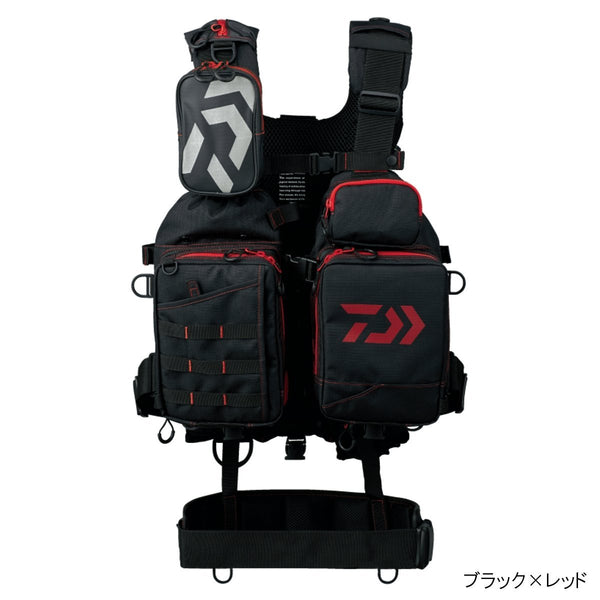 Daiwa Bench Cool Game Best III DF-6107 Fishing Vest (Black × Red)