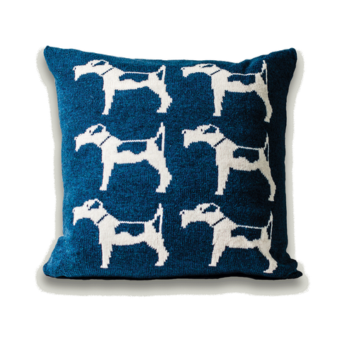 Fox Terrier Dog Knitted Cushion - Blue
