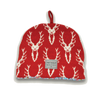 Knitted Stag Head Tea Cosy - Red & White