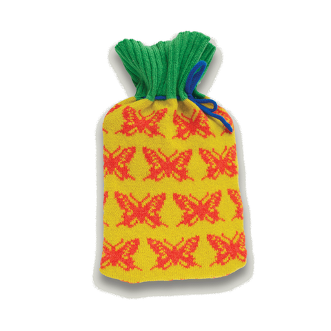 Hot Water Bottle Knitted Lambswool Butterfly Yellow, Green & Orange