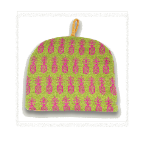 Pineapple Knitted Tea Cosy - Tropical Pink & Green