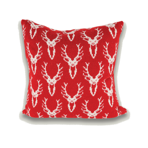 Scottish Stag Deer Head Knitted Cushion - Red & White