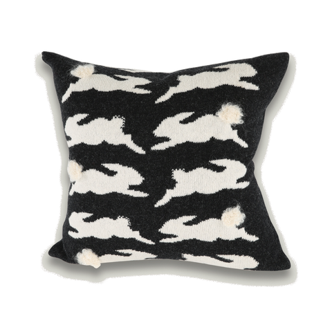 Knitted Bunny Rabbit Cushion - Charcoal & White