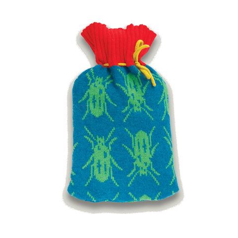 Insect Knitted Lambswool Hot Water Bottle  Blue & Red