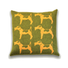 Fox Terrier Dog Knitted Cushion - Green