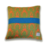 Scottish Stag Deer Head Knitted Cushion - Olive Green & Orange