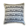 Retro Cassette Mix Tape Knitted Cushion - Silver & Charcoal