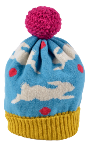 Knitted Bobble Lambswool Rabbit Hat