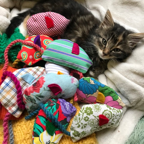 Handmade Fabric Cat Nip Mouse Toy