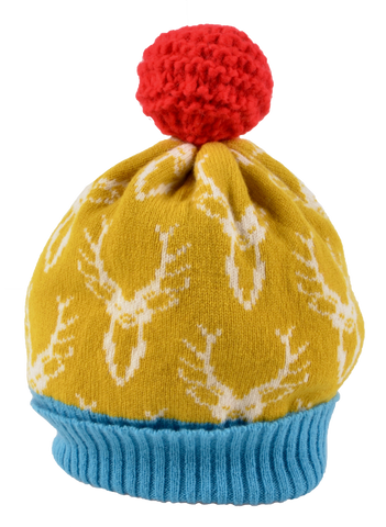 Knitted Lambswool Bright Coloured Stag Patterned Bobble Hat