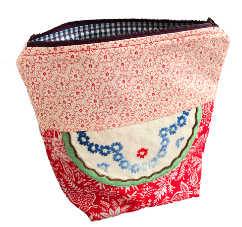Vintage Fabric Zipped Sewing Pouch with sewing essentials