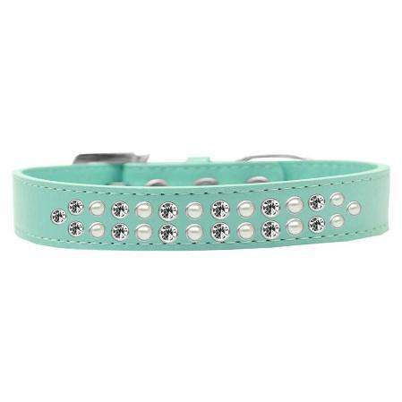 Two Row Pearl and Clear Crystal Dog Collar - Petponia