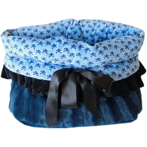 Baby Blue Skulls Reversible Snuggle Bugs Pet Bed, Bag, and Car Seat All-in-One - Petponia