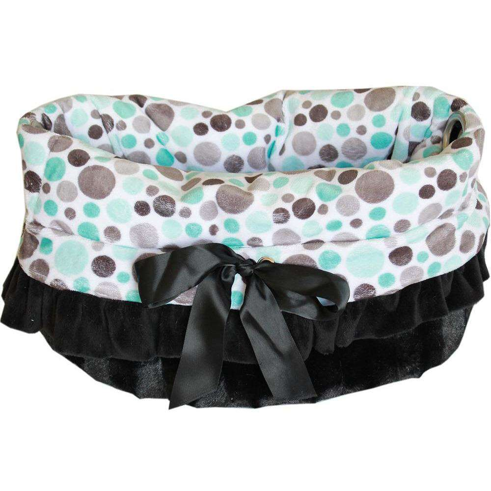 Aqua Party Dots Reversible Snuggle Bugs Pet Bed, Bag, and Car Seat All-in-One - Petponia