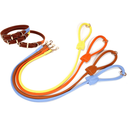 Luxe Vegan Leather Collar and Leash Set - Small / Luxe Orange - Small / Luxe Yellow - Small / Luxe Blue - Medium / Luxe Orange - Medium / Luxe Yellow - Medium / Luxe Blue