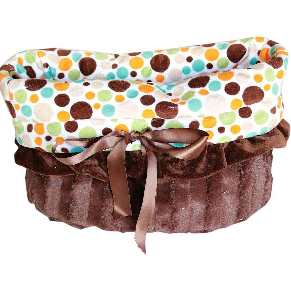 Fall Party Dots Reversible Snuggle Bugs Pet Bed, Bag, and Car Seat All-in-One - Petponia