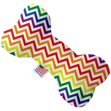 Load image into Gallery viewer, Rainbow Chevron Canvas Bone Dog Toy - Petponia