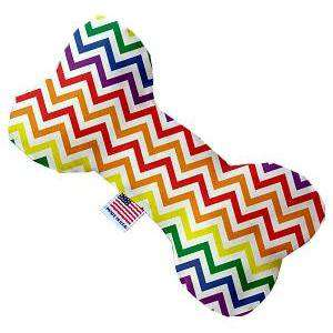 Rainbow Chevron Canvas Bone Dog Toy - Petponia