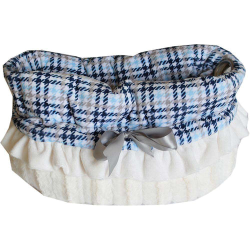 Blue Plaid Reversible Snuggle Bugs Pet Bed, Bag, and Car Seat All-in-One - Petponia