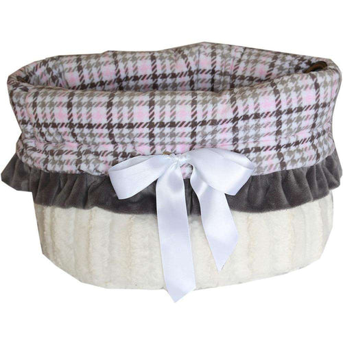 Pink Plaid Reversible Snuggle Bugs Pet Bed, Bag, and Car Seat All-in-One - Petponia