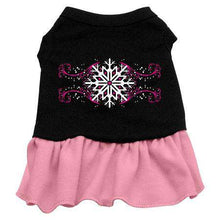 Load image into Gallery viewer, Pink Snowflake Screen Print Dress - Petponia