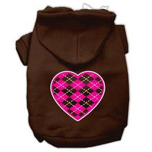 Load image into Gallery viewer, Argyle Heart Pink Screen Print Pet Hoodies - Petponia
