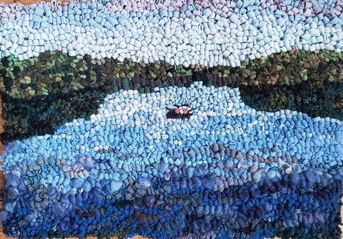 Textile Painting of Figures Fishing on Croton Lake