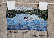 Load image into Gallery viewer, the-medusa-project - Textile Painting of Figures Fishing on Croton Lake - The Medusa Project - Mixed Media