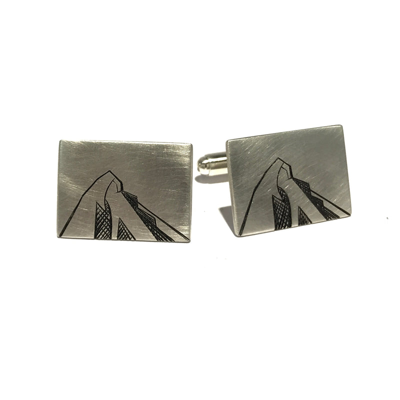 Etched Mountain Cufflinks - Ash Hilton