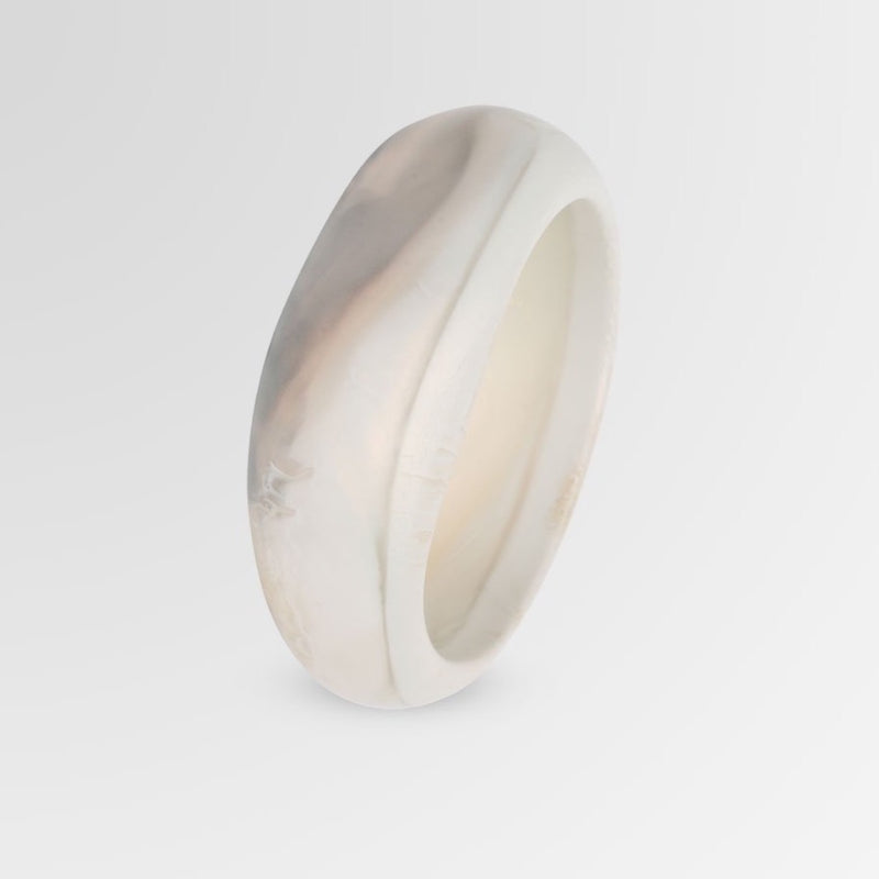 Large Organic Bangle in Sandy Pearl - Dinosaur Designs