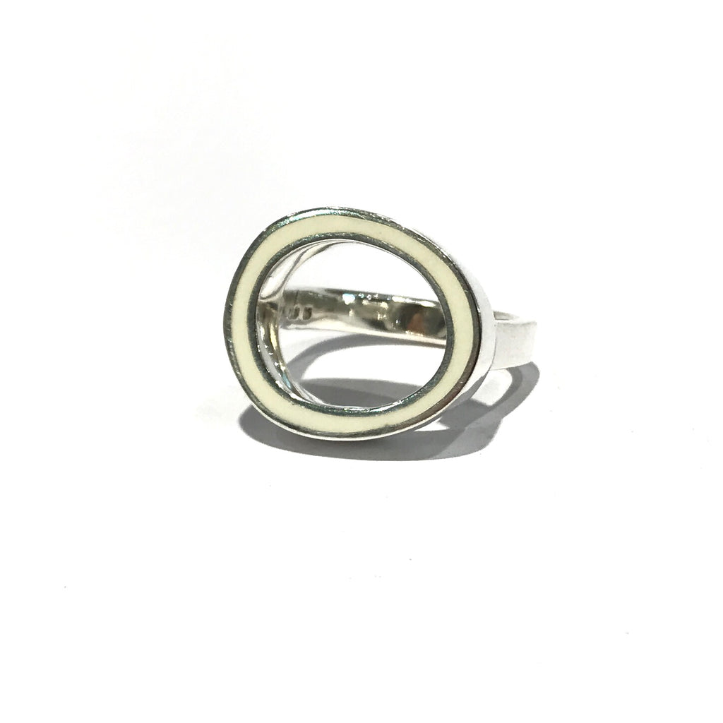 Open Circle White Ring - Christine Battochio