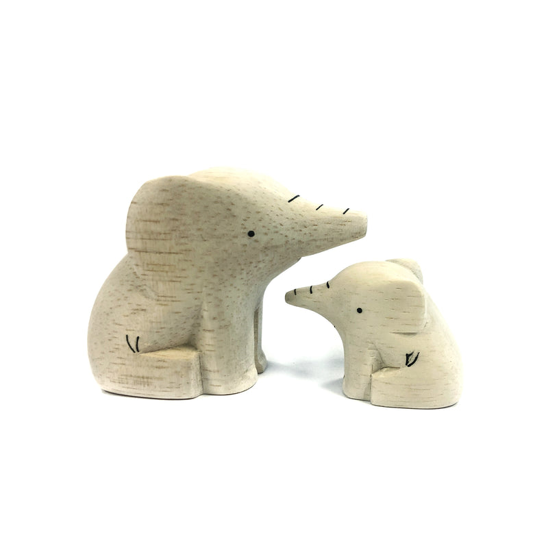 Wooden Carved Elephant Pair - T-Lab