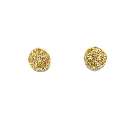 Asymmetrical Saint Motif 9ct Yellow Gold Studs - Made by A