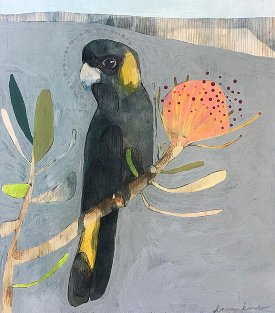Black Cockatoo and Protea 3 - Dana Kinter