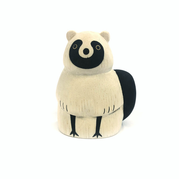 Wooden Carved Tanuki - T-Lab