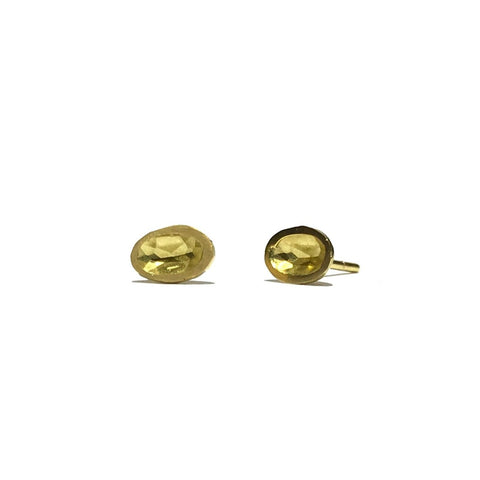 Oval Impressions Yellow Gold Studs - Louise Fischer