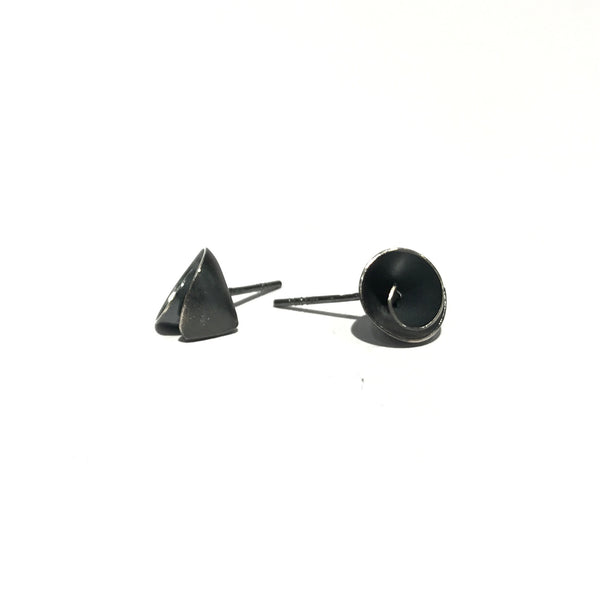 Tiny Flower Cone oxidised Studs - Tip to Toe