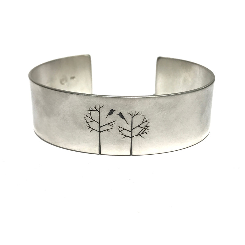 Etched Two Birds Tree Cuff - Ash Hilton