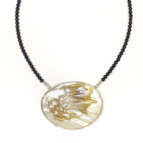 Mother of Pearl Oval Neckpiece - Ari Athans