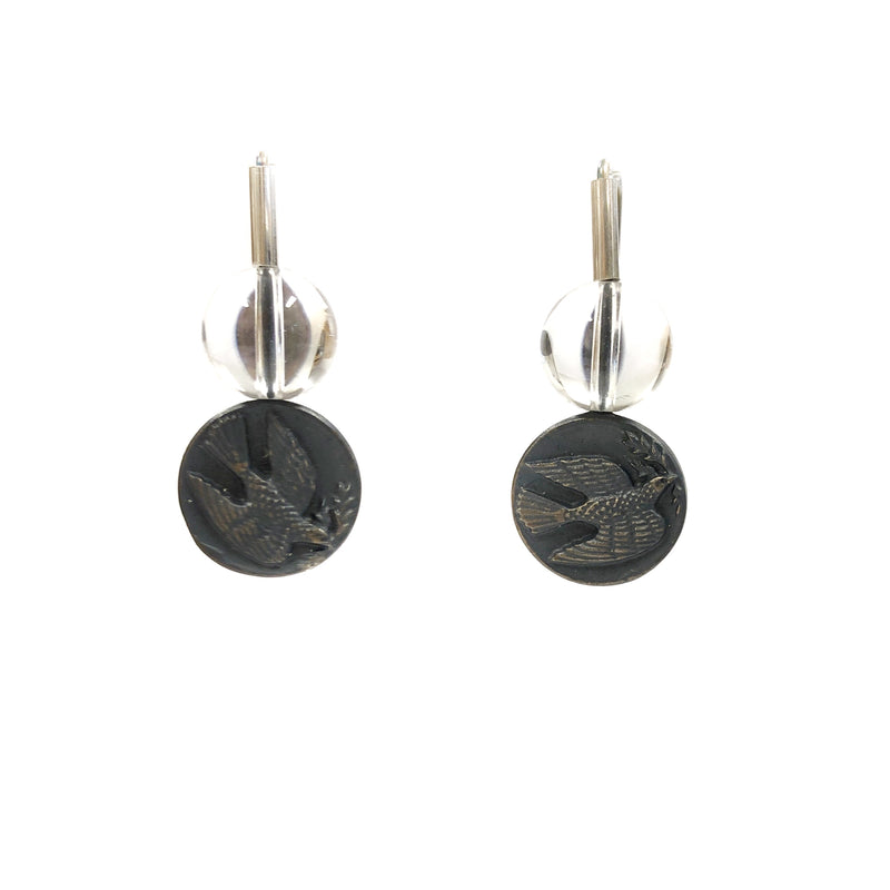 Quartz Dove Oxidised Silver Earrings - Ari Athans