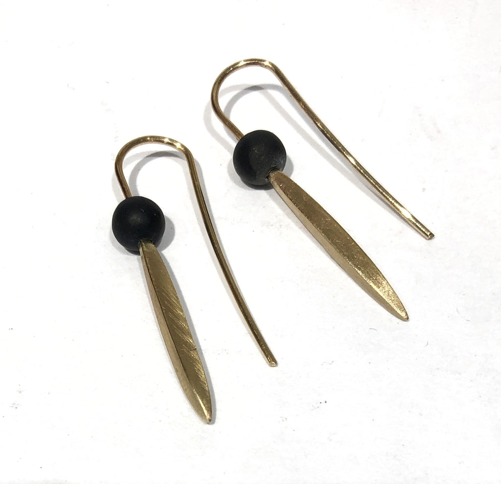 Gold and Onyx Pointy Drops - Ari Athans
