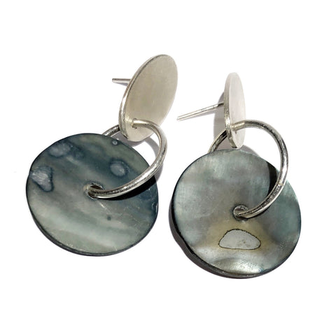 Silver Oval with Mother of Pearl Disc - Ari Athans
