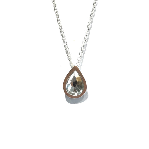 Tear Drop Inverse Faceted Sterling Silver Necklace - Louise Fischer
