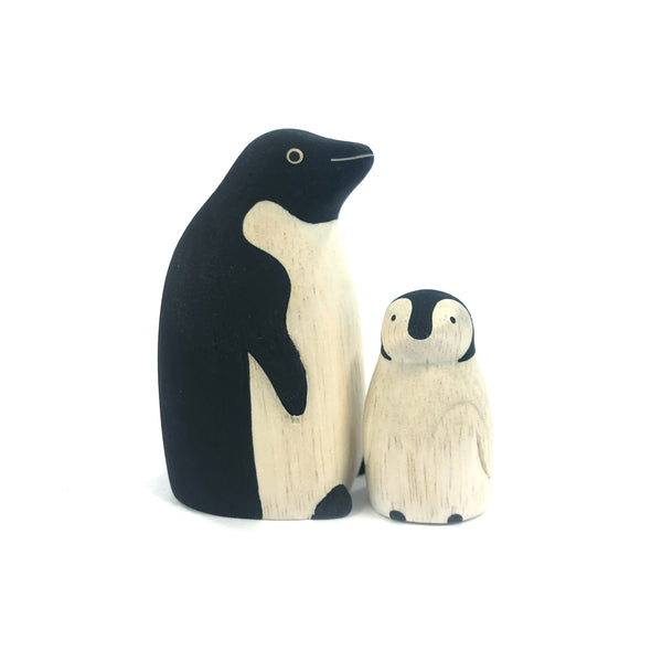Wooden Carved Penguin Pair - T-Lab