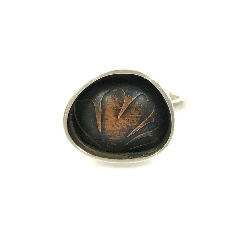 Etched Copper Irregular Ring - Christine Battochio