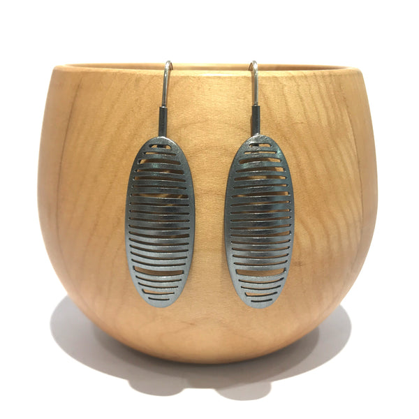 Ribbed Elongated Oval Oxidised Drops - Tip to Toe