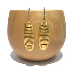 Ribbed Elongated Oval Gold Drops - Tip to Toe
